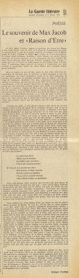 «Le souvenir de Max Jacob» et «Raison d'Être», <i>La Gazette littéraire</i>, 3-4 février 1973.