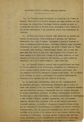 La Nouvelle Revue de Suisse, principes généraux, 1953