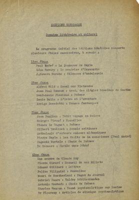Programme initial des Éditions générales