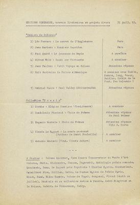 Éditions générales, projets 1953