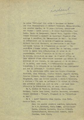 Historique de Présence, 1957