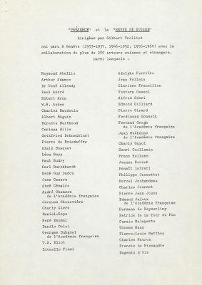 Liste des collaborateurs de Présence et extraits de presse, 1956-1960