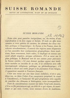 N° 1, Octobre 1937