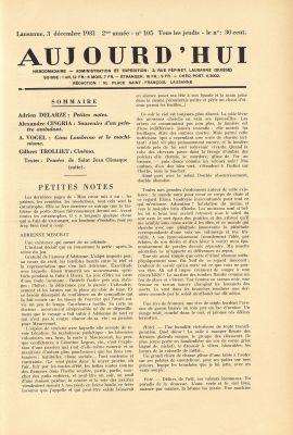 N° 105, 3 décembre 1931