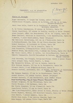 Présence Prospection Suisse, étranger, novembre 1955